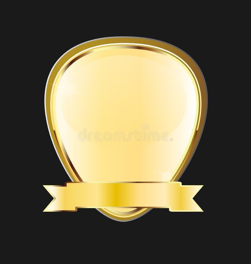 Gouden het lintpictogram van het kaderembleem royalty-vrije illustratie