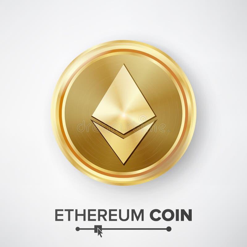 Gouden het Muntstukvector van het Ethereummuntstuk De realistische Crypto Muntgeld en Illustratie van het Financiënteken Digitaal royalty-vrije illustratie