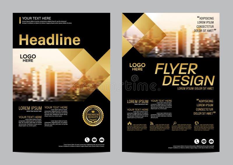 Gouden het ontwerpmalplaatje van de Brochurelay-out Van de het Pamfletdekking van de Jaarverslagvlieger de Presentatie Moderne ac royalty-vrije illustratie
