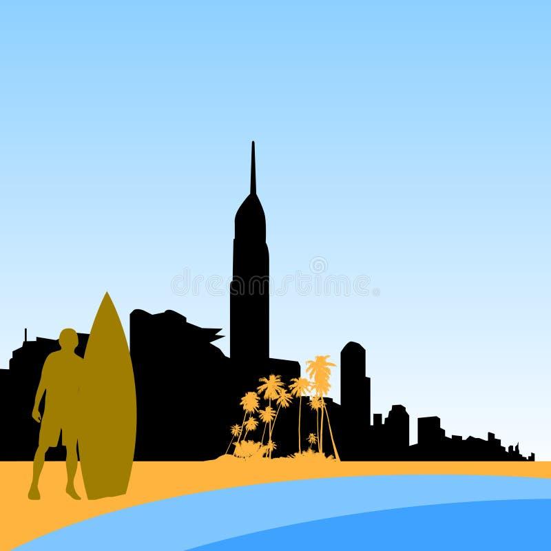 Gouden het paradijshorizon van kustsurfers royalty-vrije illustratie