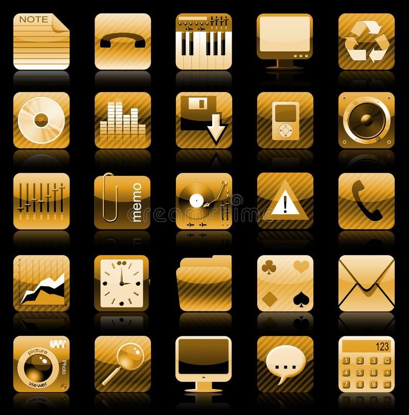 Gouden het pictogramreeks van Iphone stock illustratie