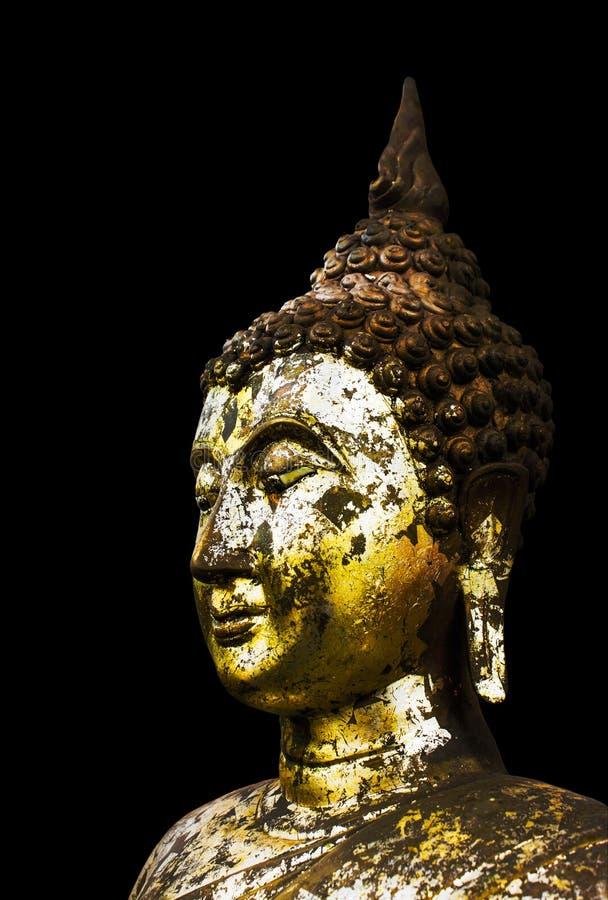 Gouden het standbeeld zwarte achtergrond van Boedha. royalty-vrije stock afbeeldingen