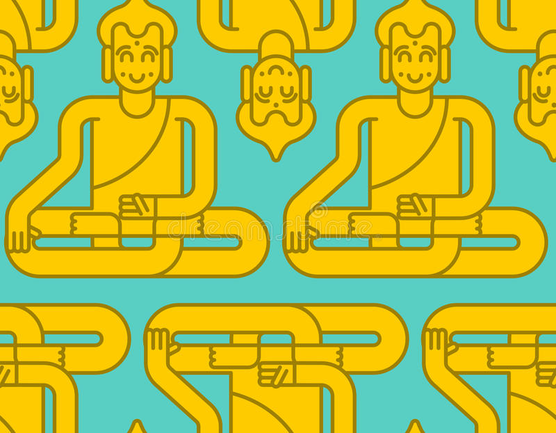 Gouden het standbeeldpatroon van Boedha Meditatie en verlichting backg vector illustratie