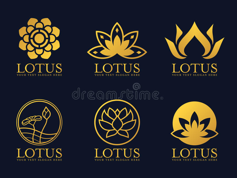 Gouden het teken vector vastgesteld ontwerp van het lotusbloemembleem royalty-vrije illustratie