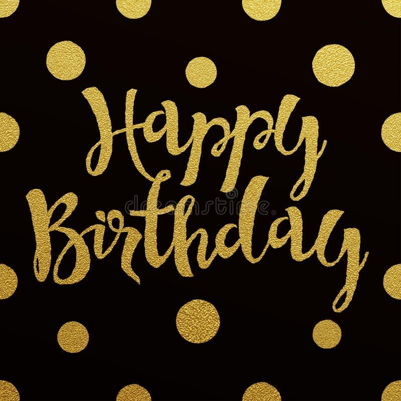 Gouden het van letters voorzien ontwerp voor kaart Gelukkige Verjaardag royalty-vrije illustratie