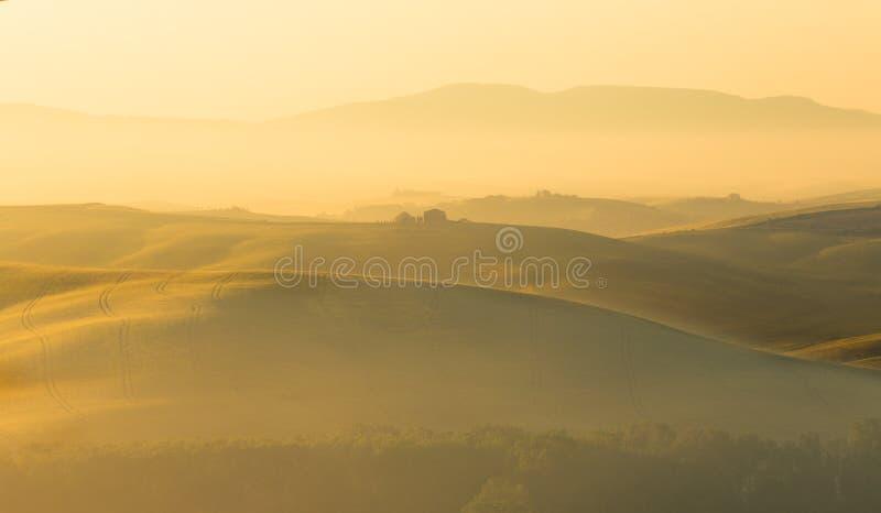 Gouden heuvels van Toscanië royalty-vrije stock afbeeldingen