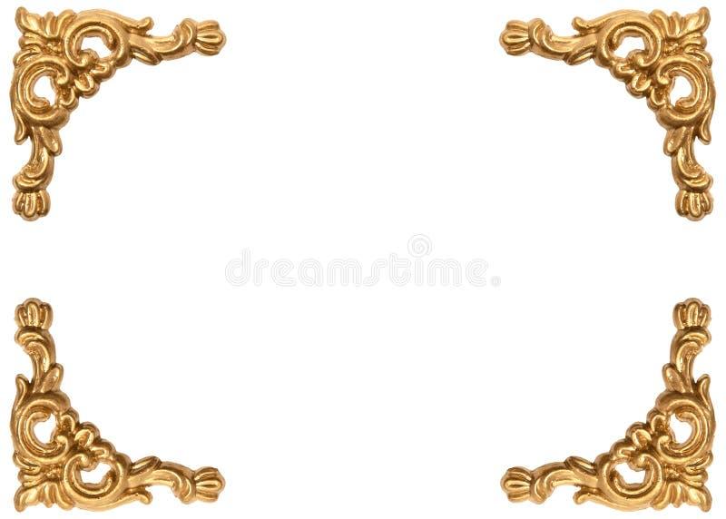 Gouden hoeken van gesneden barokke stijlomlijsting royalty-vrije stock afbeelding