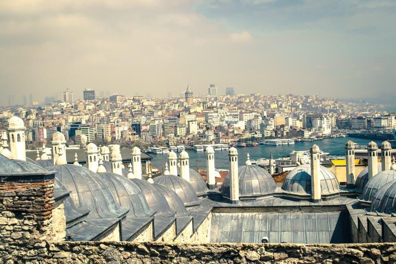 Gouden Hoorn en Galata-Panorama royalty-vrije stock afbeelding