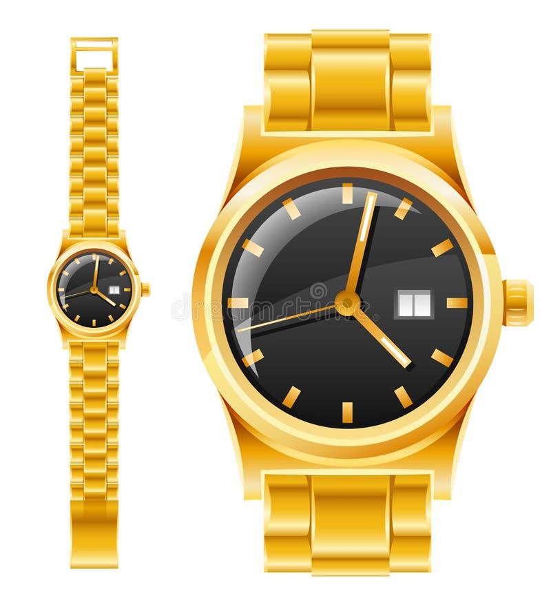 Gouden horloge met armband vector illustratie