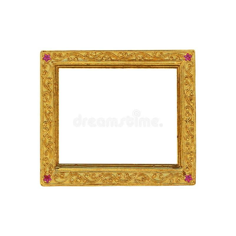 Gouden houten die kader op witte achtergrond wordt geïsoleerd royalty-vrije stock afbeelding