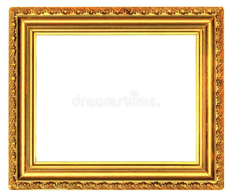 Gouden houten kader met gesneden die patroon op een wit wordt geïsoleerd royalty-vrije stock afbeeldingen