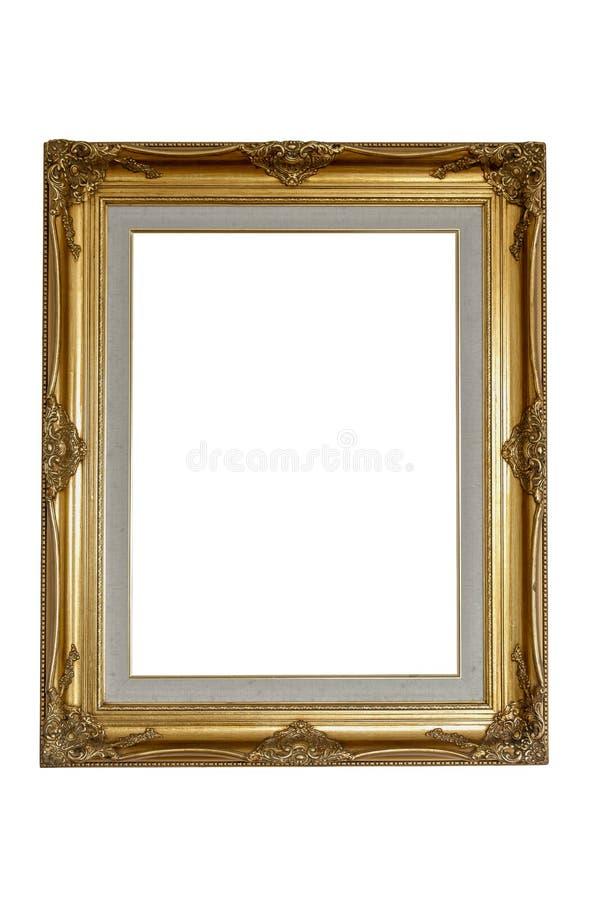 gouden houten kader op geïsoleerde witte achtergrond met klemweg lin royalty-vrije stock foto's