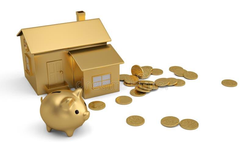 Gouden huis en spaarvarken met muntstukken op witte achtergrond 3d illu stock illustratie