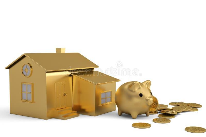 Gouden huis en spaarvarken met muntstukken op witte achtergrond 3d illu royalty-vrije illustratie