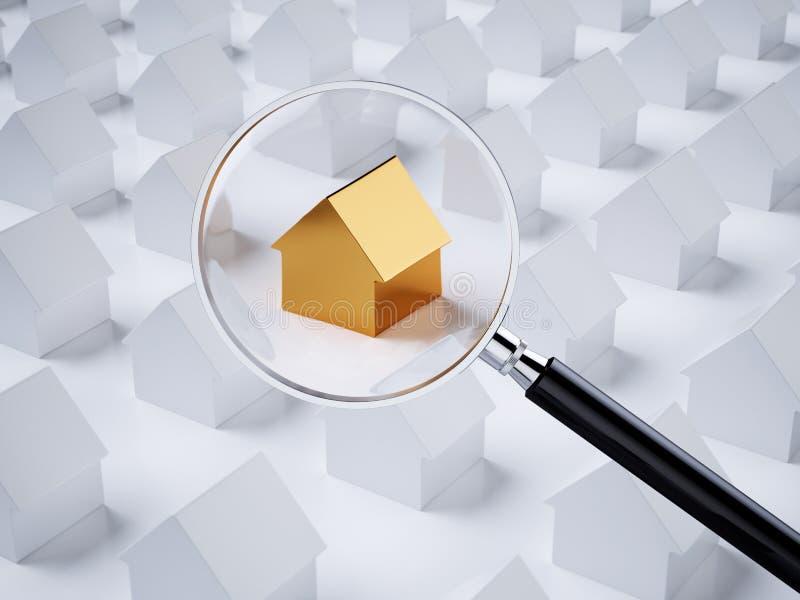 Gouden huis met vergrootglas vector illustratie