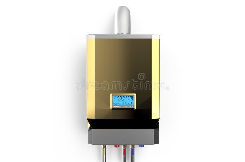 Gouden huisboiler met gas, waterverwarmer vector illustratie