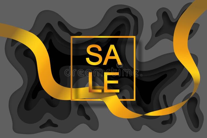 Gouden inschrijving 'VERKOOP 'in een gouden kader op een zwarte achtergrond met een laag-door-laag effect in de stijl van documen vector illustratie