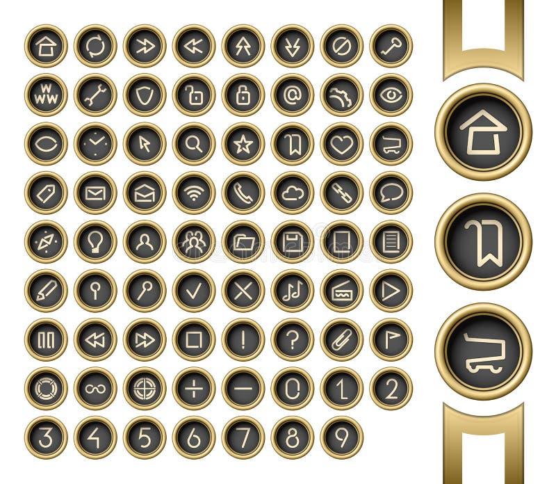 Gouden interfaceknopen vector illustratie