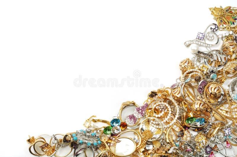 Gouden juwelenframe royalty-vrije stock afbeeldingen