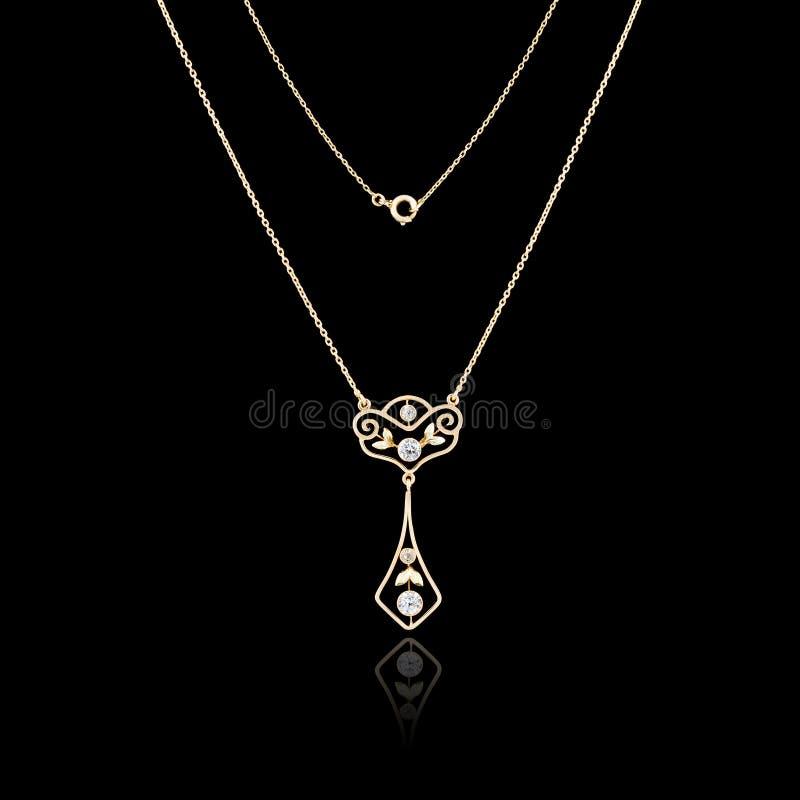 Gouden juwelenhalsband stock afbeelding