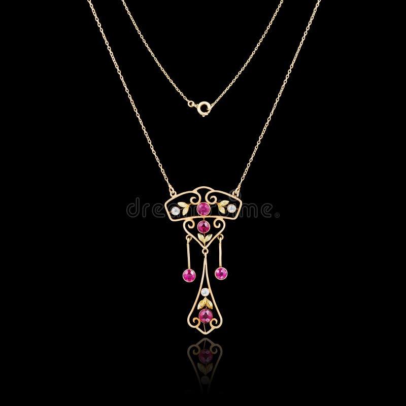 Gouden juwelenhalsband stock afbeeldingen