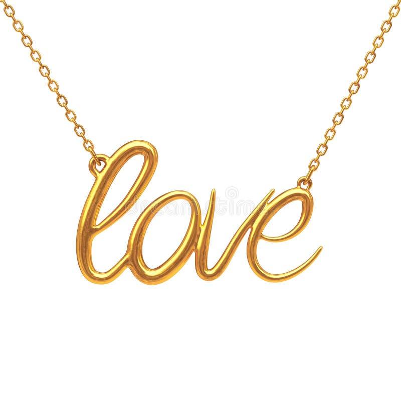 Gouden Juwelenhalsband met Liefdeteken het 3d teruggeven stock illustratie
