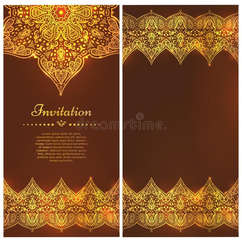 Gouden Kaart of uitnodiging met Mandala en naadloze grens Vector hand-drawn hoogst gedetailleerd om mandalaelementen vector illustratie