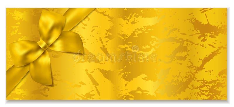 Gouden kaartje, Giftcertificaat/het vectormalplaatje van de Giftbon stock illustratie