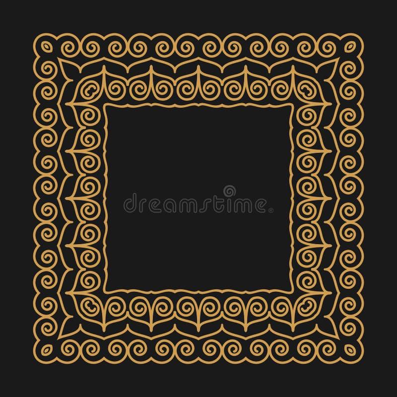Gouden kader in de moderne monolijnstijl op een donkere achtergrond Overzichtspatroon met wervelingen Plaats voor tekst voor ontw royalty-vrije illustratie