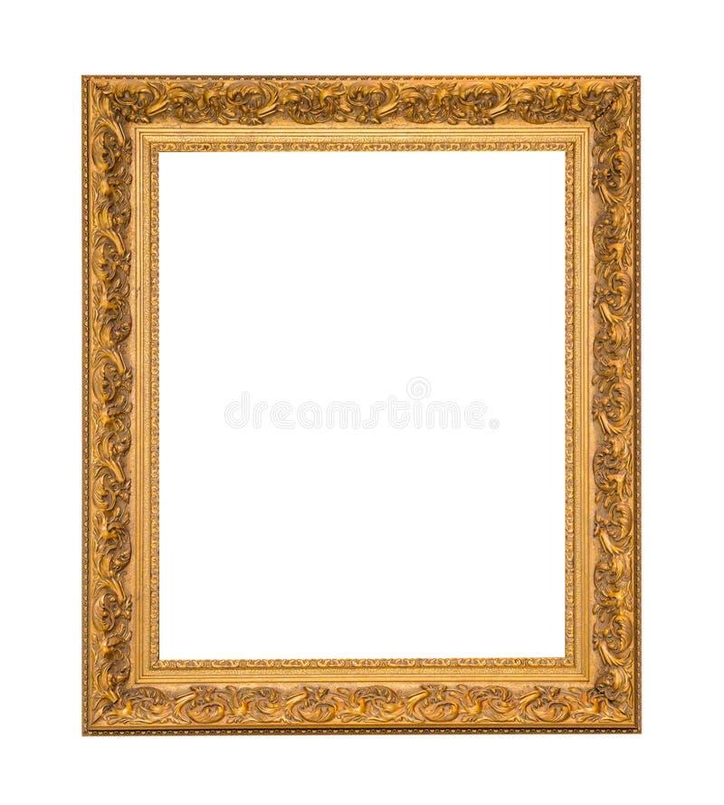Gouden kader Elegante die wijnoogst op witte achtergrond wordt geïsoleerd stock foto's