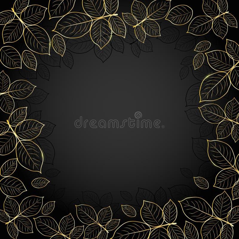 Gouden kader met bladeren stock illustratie