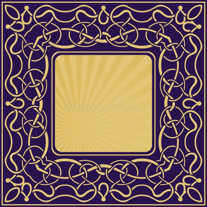 Gouden kader met bloemen sier royalty-vrije illustratie