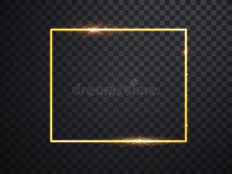 Gouden kader met lichteffecten Glanzende rechthoekbanner Ge?soleerd op zwarte transparante achtergrond Vector vector illustratie