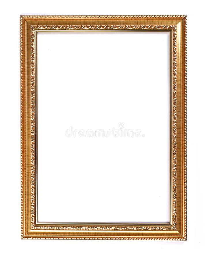 Gouden kader voor schilderijen of foto's op witte achtergrond stock afbeeldingen