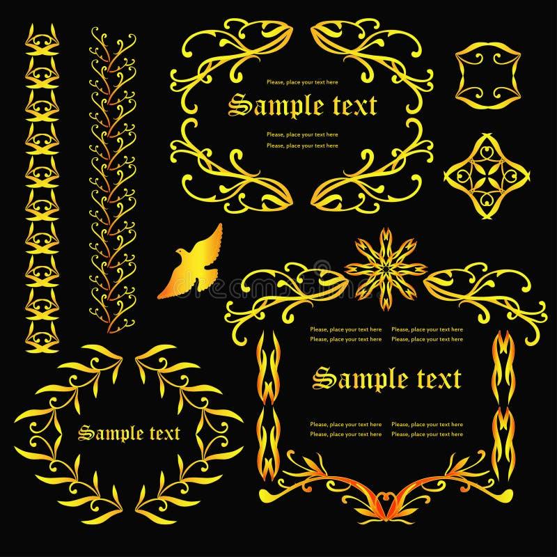 Gouden kaders royalty-vrije illustratie