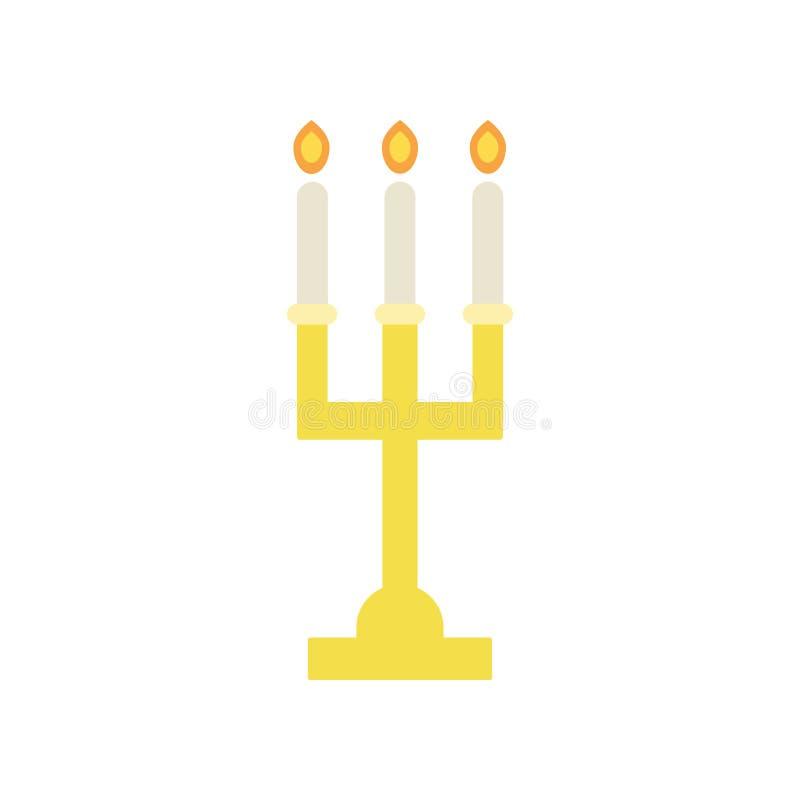 Gouden kandelaar met drie brandende kaarsen Godsdienstig pictogram Elegante altaarkandelabers voor Christelijke verering Kerk royalty-vrije illustratie