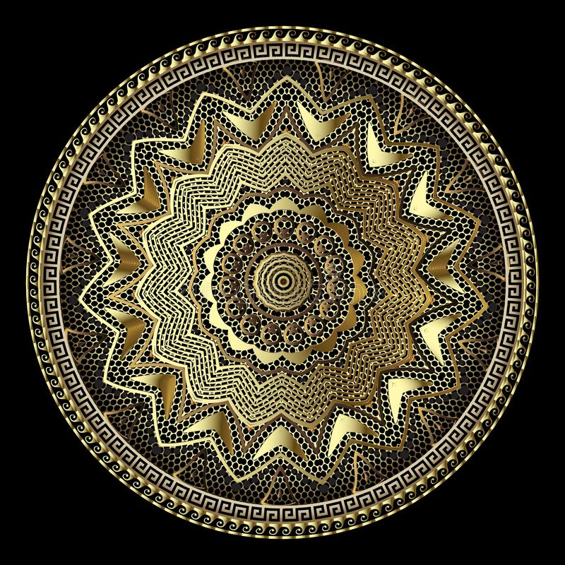 Gouden kanten Grieks vector 3d mandalapatroon Ronde kant bloemenachtergrond Uitstekend ontwerp Gouden bloemen, geometrische vorme stock illustratie