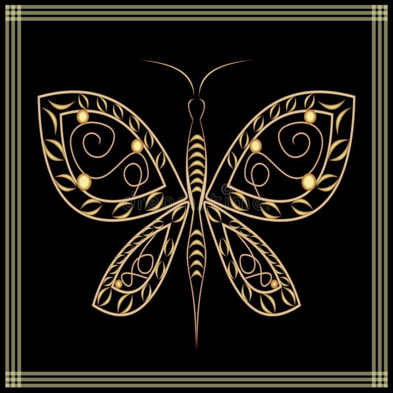 Gouden Kantvlinder op zwarte achtergrond Filigraan decoratieve tekening met in reliëf gemaakt effect, vector illustratie