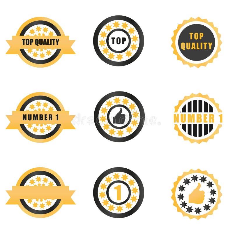 Gouden kentekens en medailles met tekstillustratie stock illustratie