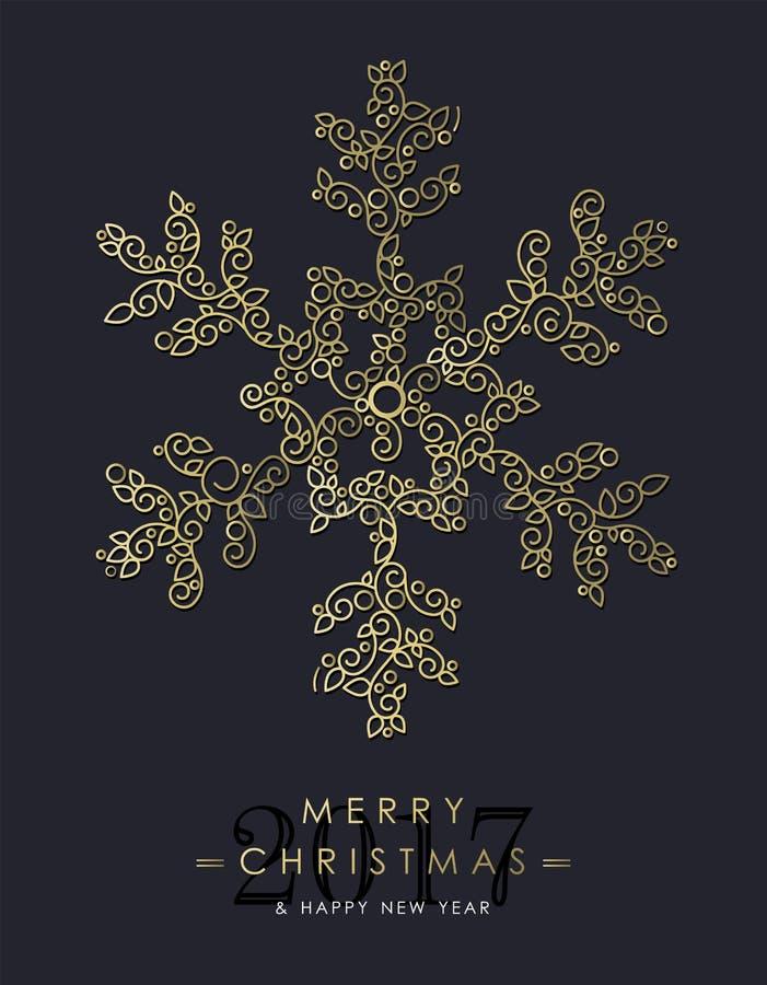 Gouden Kerstmis en nieuwe jaar siersneeuwvlok royalty-vrije illustratie