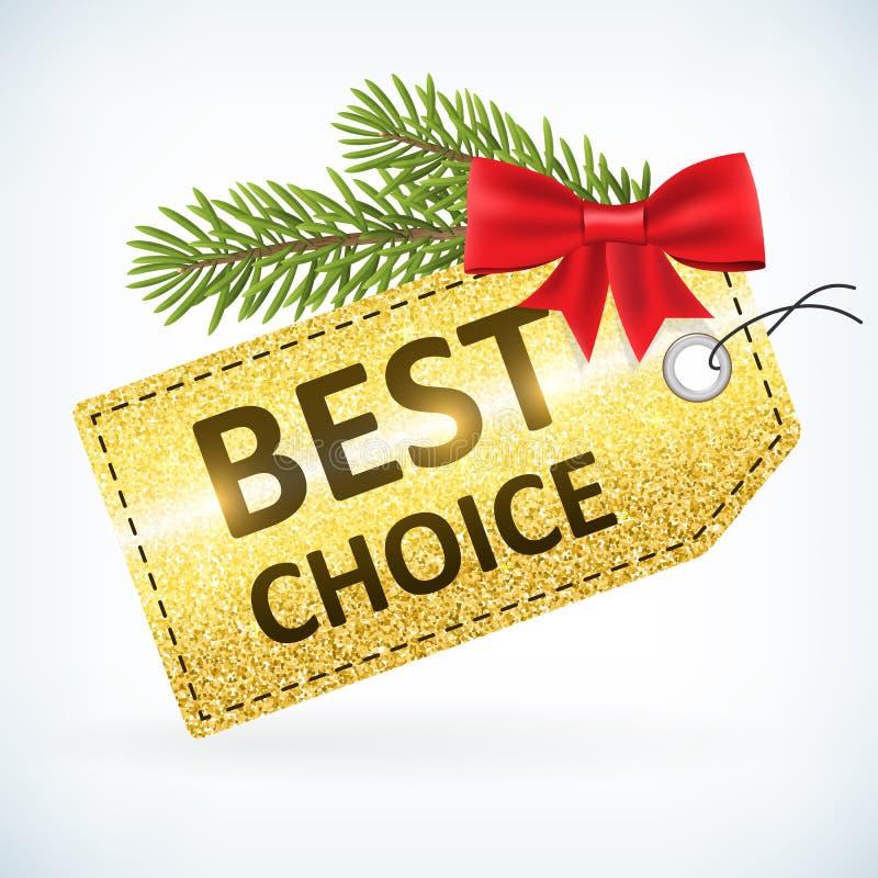 Gouden Kerstmis schittert het beste etiket van de keusverkoop stock illustratie