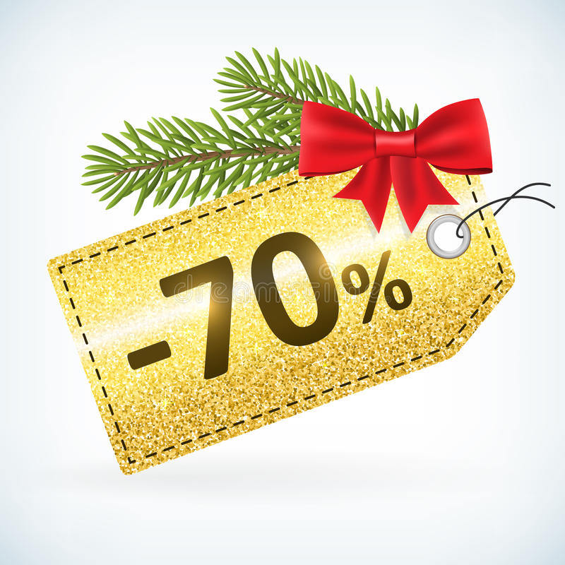 Gouden Kerstmis schittert -70 het etiket van de percentenverkoop vector illustratie
