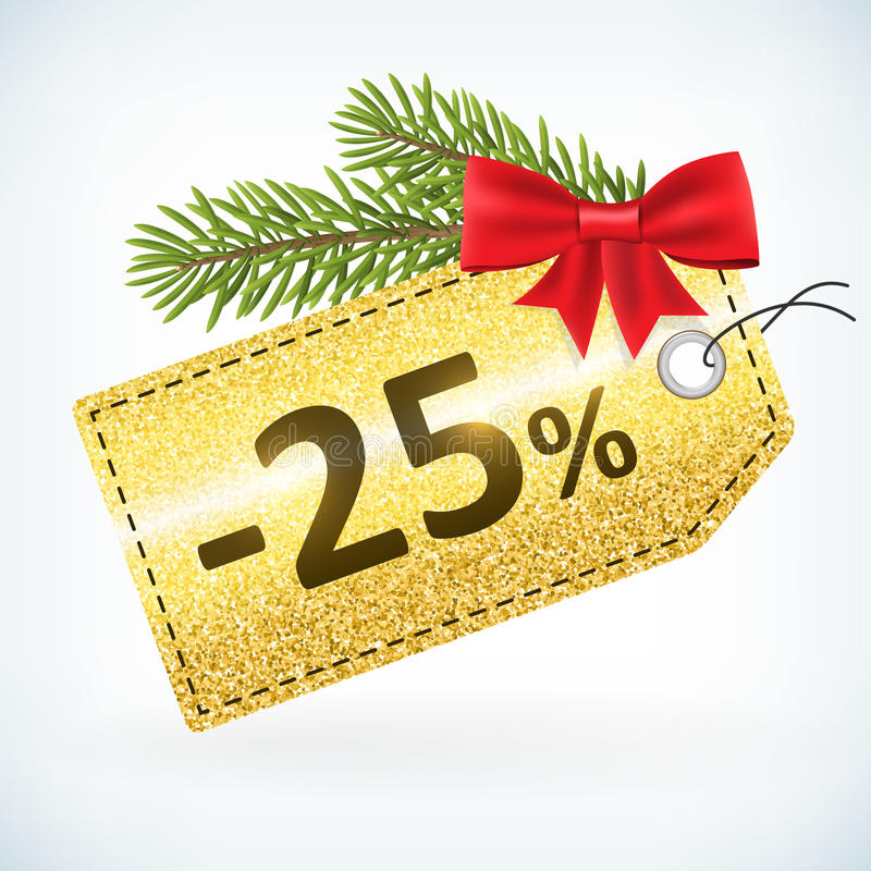 Gouden Kerstmis schittert 25 percentenetiket vector illustratie