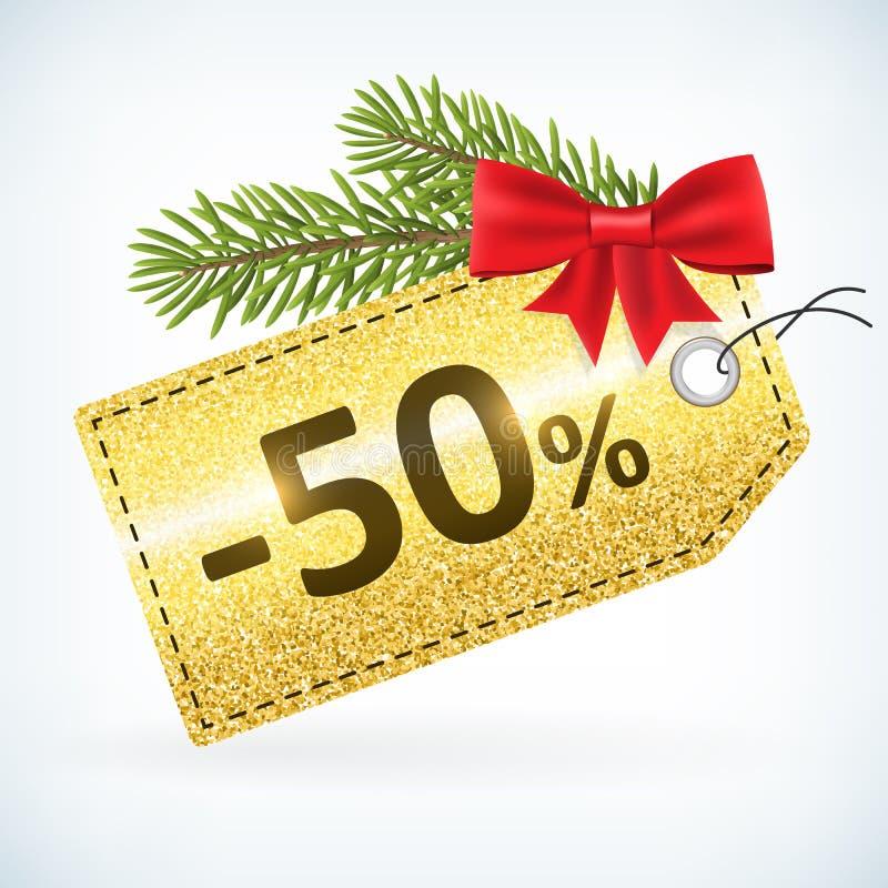 Gouden Kerstmis schittert 50 percentenetiket royalty-vrije illustratie