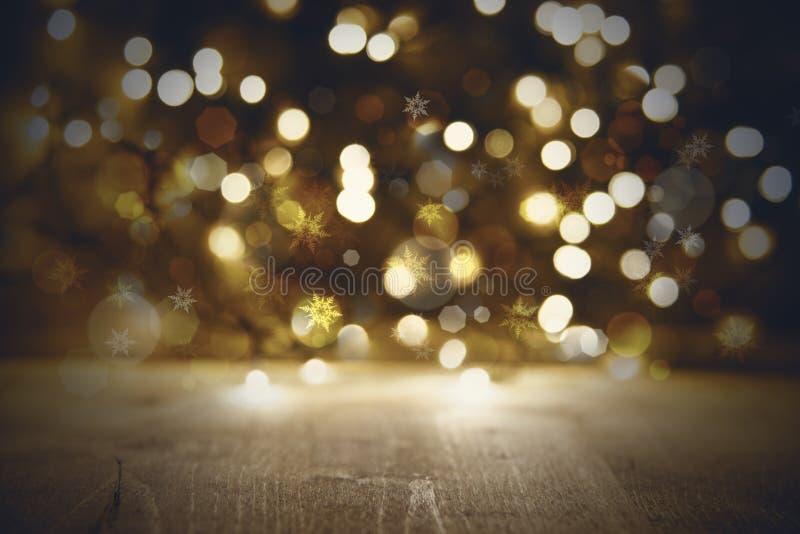 Gouden Kerstmis steekt Achtergrond, Partij of Discotextuur met Hout aan royalty-vrije stock fotografie