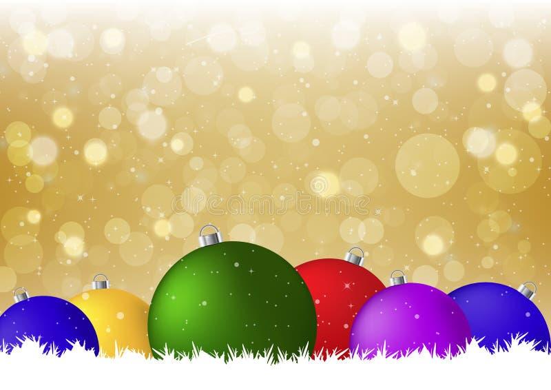 Gouden Kerstmis verfraaide vectorillustratie als achtergrond stock illustratie