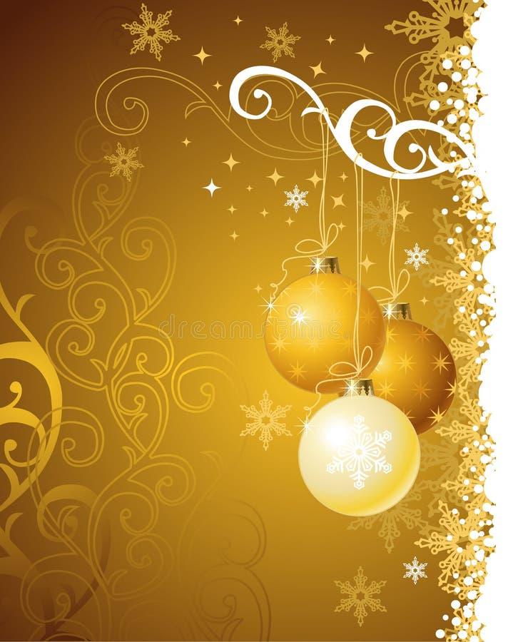 Gouden Kerstmisachtergrond/vectorillustratie royalty-vrije illustratie