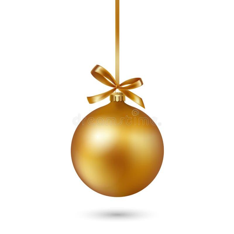 Gouden Kerstmisbal met lint en boog op witte achtergrond Vector illustratie vector illustratie