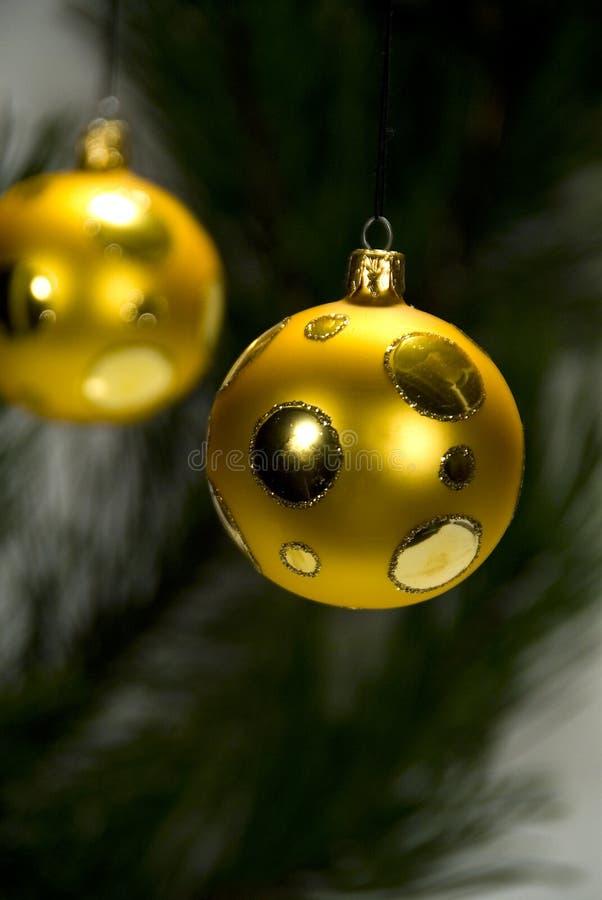 Gouden Kerstmisballen royalty-vrije stock foto