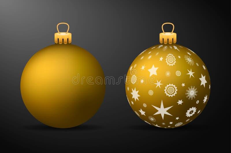 Gouden Kerstmisballen met gouden houders Reeks geïsoleerde realistische decoratie op zwarte achtergrond vector illustratie